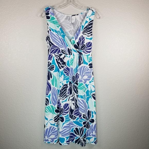 John/'s casual Midi Dress on rayon sleeveless color blue navy flowering.**NEW St